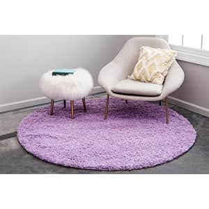 Unique Loom Solo Solid Shag Collection Area Modern Plush Rug Lush & Soft, 4' 0 x 4' 0 Round, Lilac for $42
