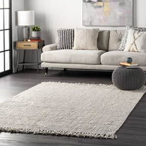 nuLOOM Hand Woven Chunky Natural Jute Farmhouse Area Rug, 4' Square, Off-white for $55