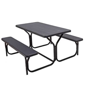 Giantex Picnic Table Bench Set Outdoor Camping All Weather Metal Base Wood-Like Texture Backyard for $280