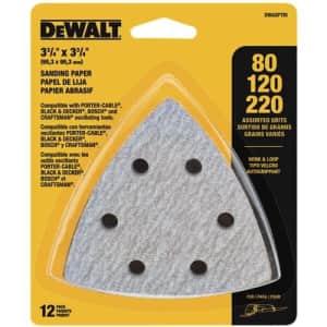 DeWalt Sandpaper Assortment Hook and Loop Triangle 12-Pack for $7