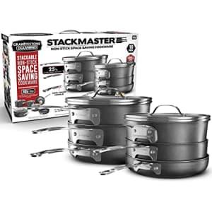 GRANITESTONE Stack Master 10 Piece Cookware Set, Triple Layer Nonstick Granite Stone with Diamond for $149