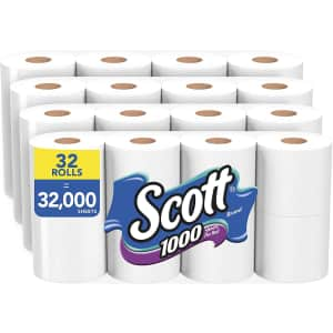 Scott 1,000 Sheets Per Roll Toilet Paper 32-Roll Pack for $35