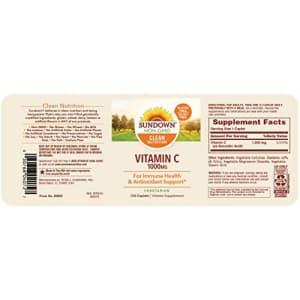 Sundown Vitamin C 1000 mg Ascorbic Acid, 133 Caplets (Packaging May Vary) for $13