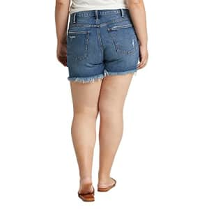 Silver Jeans Co. Women's Plus Size Not Your Boyfriend High Rise Jean Shorts, Distressed Medium for $59
