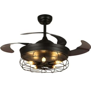 """Siljoy 36"""" Vintage Cage Ceiling Fan with Retractable Blades for $175"""