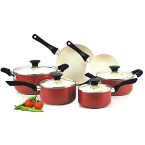 Cook N Home 10 Piece Nonstick Ceramic Coating Cookware Set, Red for $70