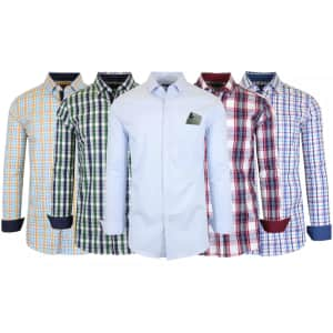 Galaxy by Harvic Men's Long Sleeve Dress Shirts for $10