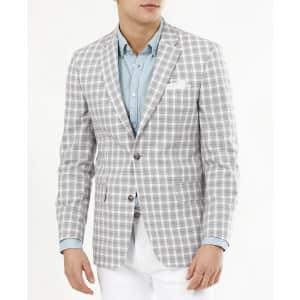 Tommy Hilfiger Men's Modern-Fit Plaid Cotton Blazer for $45