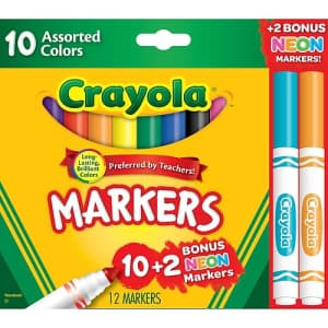 Crayola Classic Assorted Markers 12-Pack for for $1
