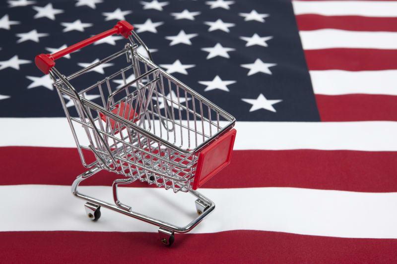 shopping cart on American flag