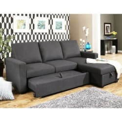 Hudson Fabric Reversible Storage Sectional W/ Pullout Bed