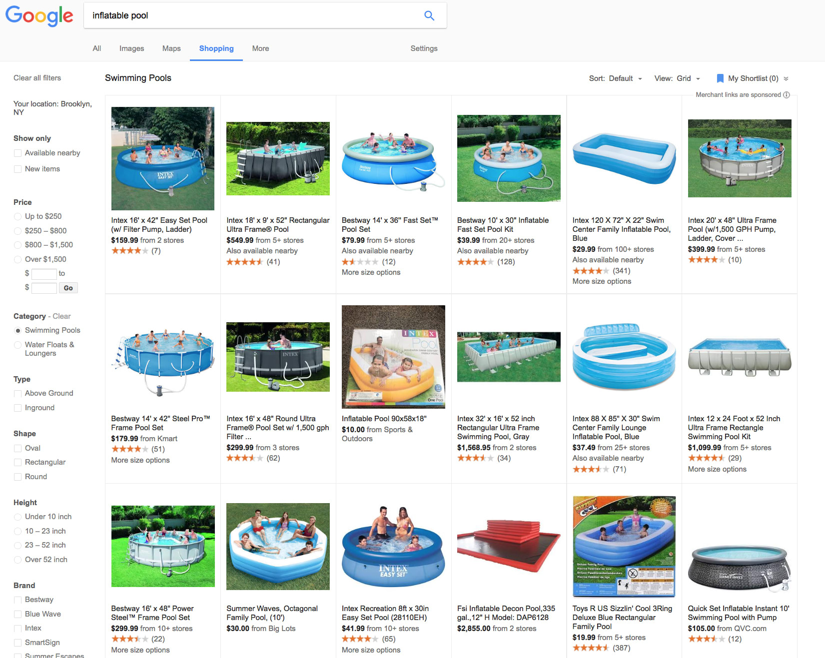 Google Shopping pools