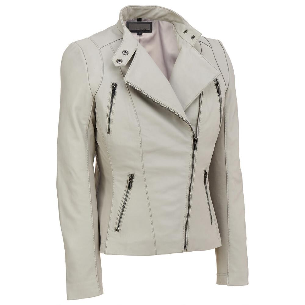 4609b773abce0 Soft and Stretchy. Wilsons Leather Women s Asymmetrical Lamb Scuba Jacket  ...