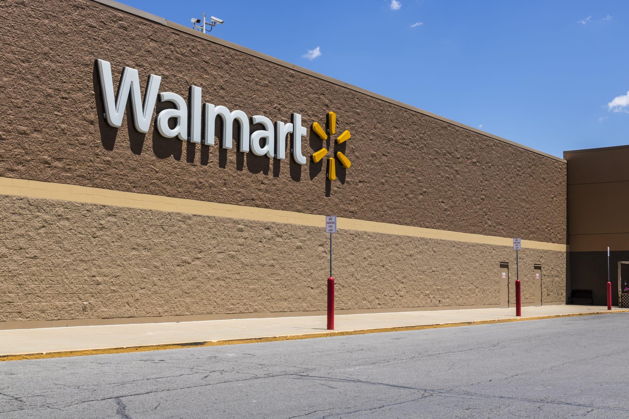 Walmart sign on building
