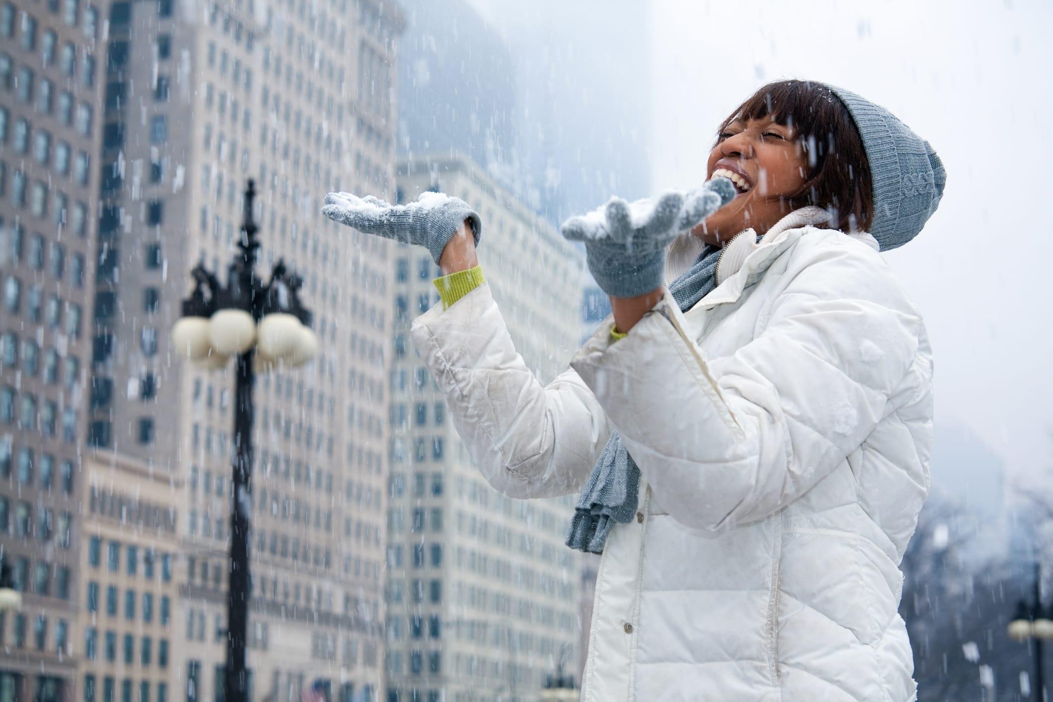 Woman in the City Enjoying Snow