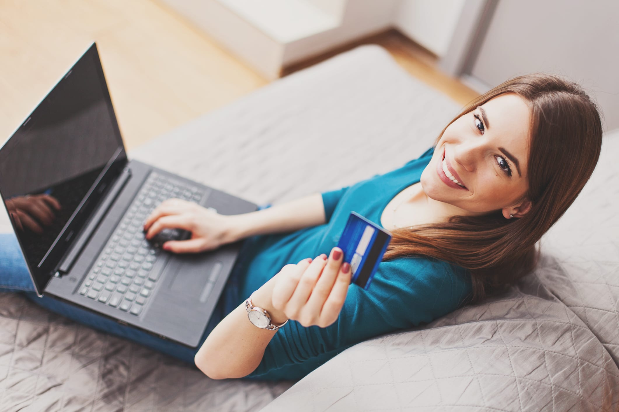 Shopping Online with Blue Credit Card