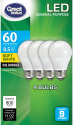 Great Value 60W Equivalent LED Bulbs 4-Pack for $5 + pickup at Walmart