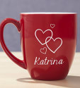 Personalized Valentine Red Bistro Mug for $23 + free shipping