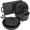 Outdoor Gourmet 5pc Cast-Iron Cookware Set for $40 + free shipping