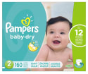 Pampers Baby Dry Diapers Size 2 160-Pack for $24 + free shipping