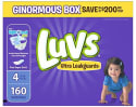 Luvs Ultra Leakguards Size 4 Diapers 160ct for $14 w/ Prime + free shipping