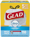 110 Glad 13-Gallon Drawstring Trash Bags for $12 + free shipping w/Prime