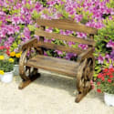 Rustic Wooden Wagon Wheel Junior Bench for $40 + free shipping