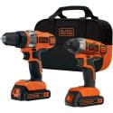 Black + Decker 20V Drill/Impact Driver Kit for $80 + free shipping