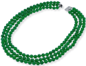 8mm Three Row Round Malay Jade Necklace for $26 + free shipping