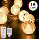 DecorNova 10-Foot 15-LED Lantern Lights for $7 + free shipping w/ Prime