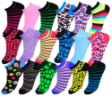 Women's Funky Ankle Socks 24-Pack for $17 + free shipping