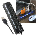 Insten 7-Port USB Hub with On/Off Switches for $3 + $3 s&h
