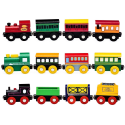 Playbees 12pc Wooden Train Cars Magnetic Set for $14 + free shipping w/ Prime