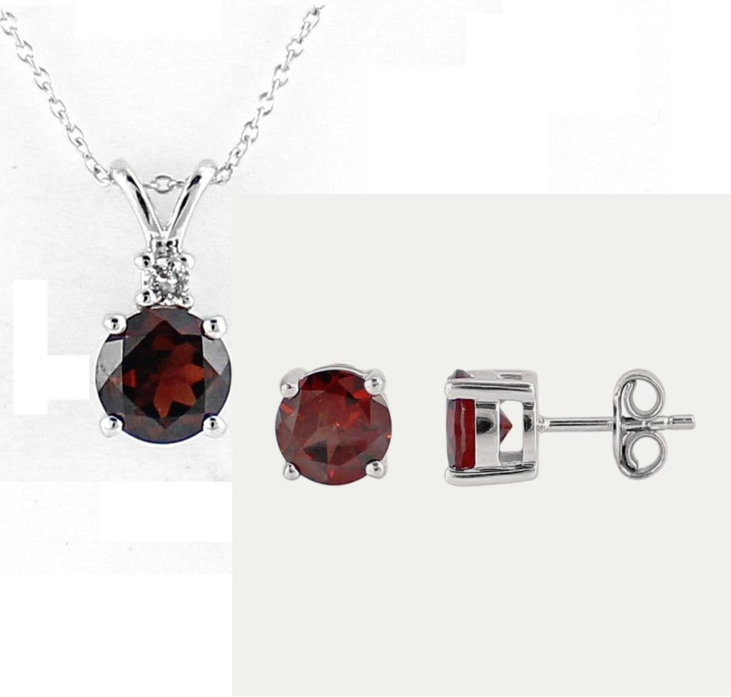 4.7-tcw Garnet / Topaz Necklace & Earrings for $50