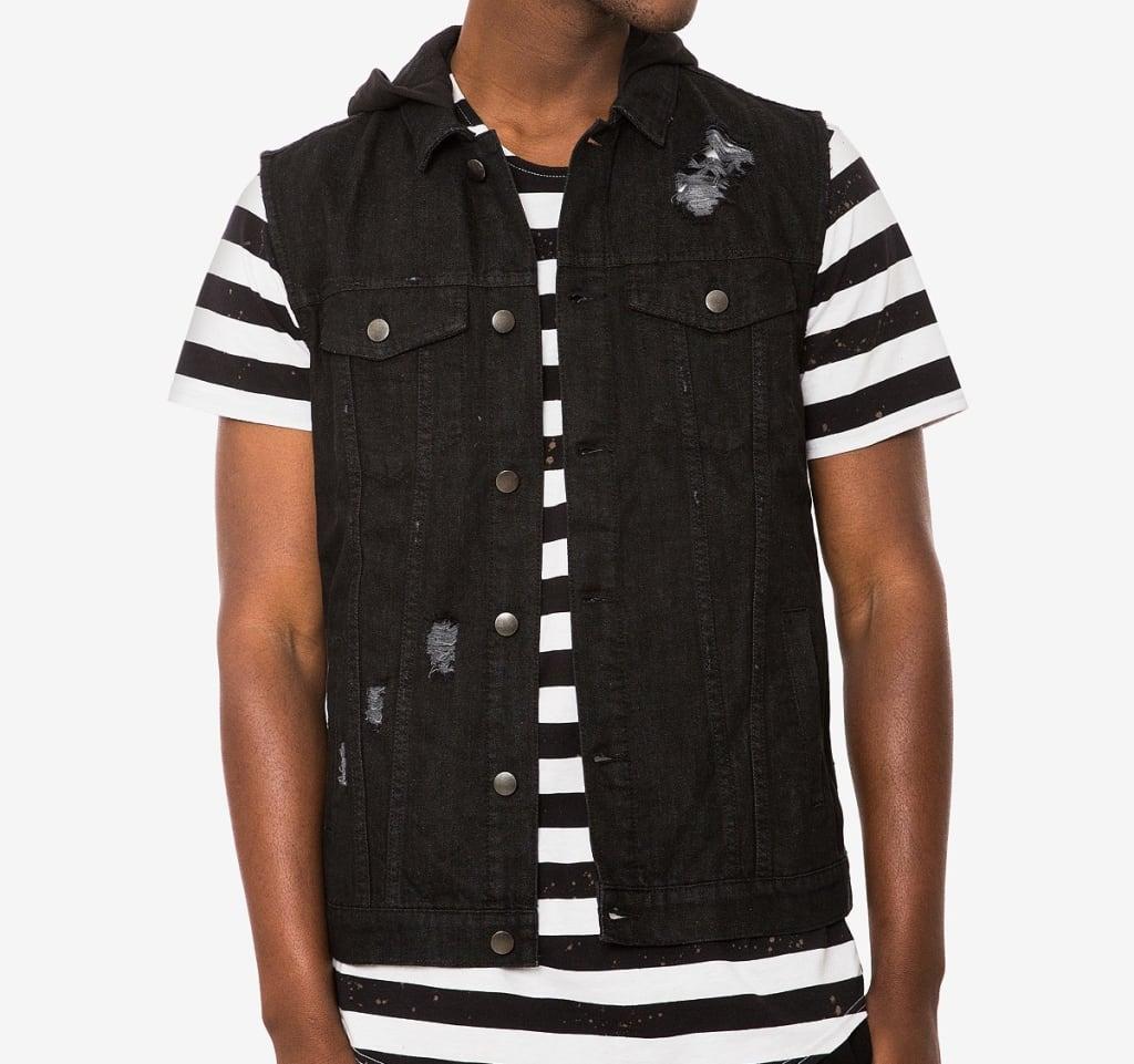 Jaywalker Men's Hooded Denim Vest for $24