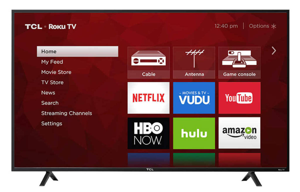 "TCL 55"" 4K WiFi LED LCD UHD Roku Smart TV for $340"