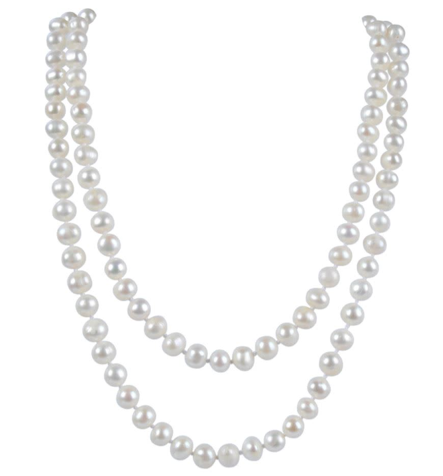 "34"" AA+ 7.5mm White Freshwater Pearl Necklace $24"