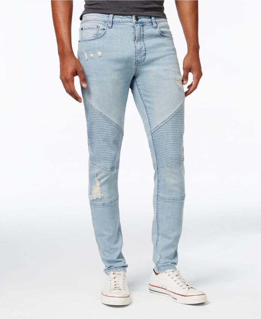 Jaywalker Men's Destructed Moto Jeans for $31
