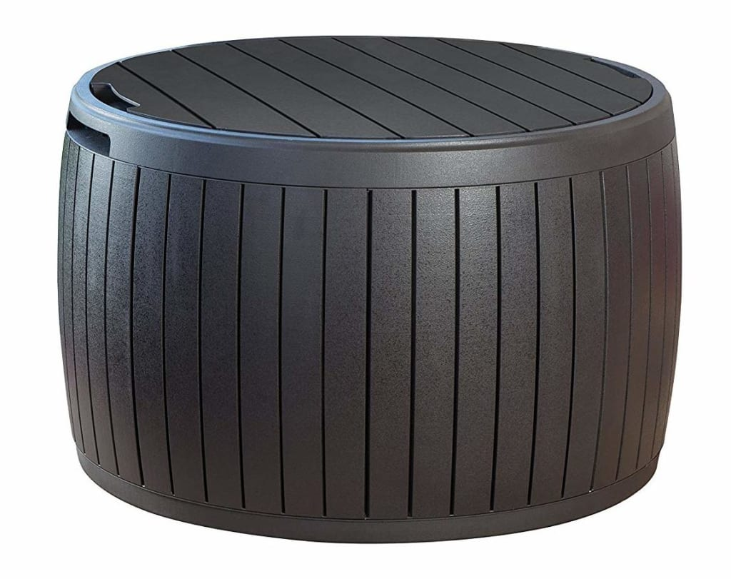 Miraculous Keter Circa Outdoor Storage Table Deck Box Bralicious Painted Fabric Chair Ideas Braliciousco