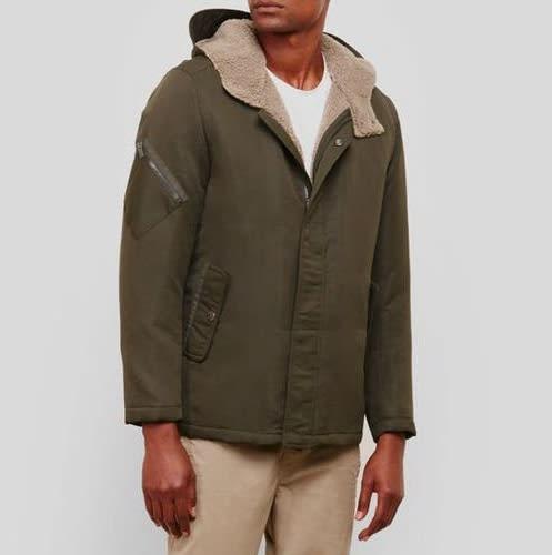 Kenneth Cole Men's Faux Sherpa Hooded Jacket $26