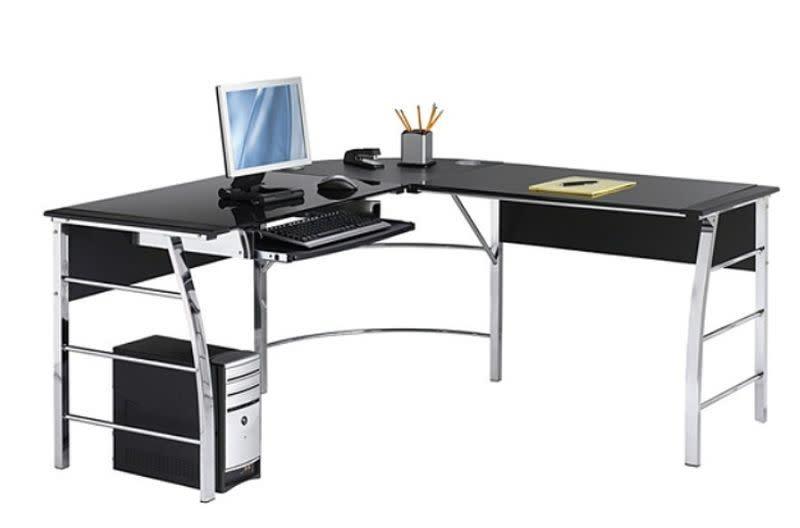 Realspace Mezza L-Shaped Glass Computer Desk $94
