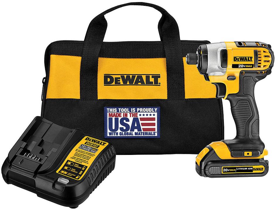 """DeWalt 20V 1/4"""" Impact Driver Kit, $50 SWYR $99"""