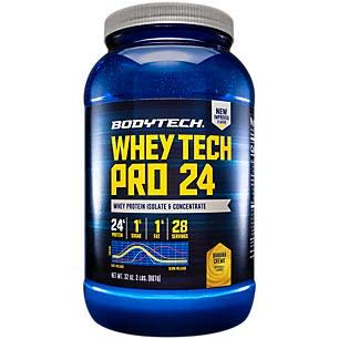 BodyTech Whey Tech Pro 24 Protein Powder Protein Enzyme Blend with BCAA's to Fuel Muscle Growth