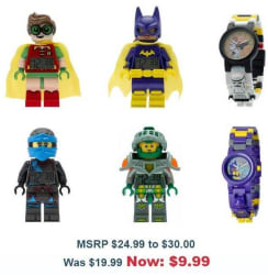 LEGO Kids' Watches and Alarm Clocks $10