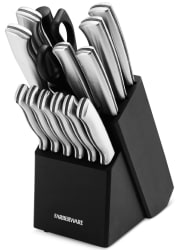Farberware 15-Piece Stainless Steel Knife Block Set for $28 + free shipping
