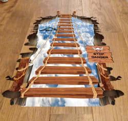 3D Sky Rope Bridge Removable PVC Sticker for $4