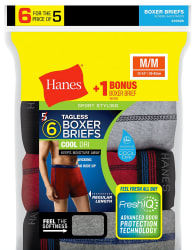 Hanes Men's Boxer Briefs 6-Pack for $11