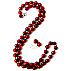 7.5mm Round Coral Bead Necklace & Earring Set $12
