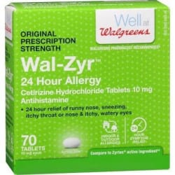 Walgreens Wal-Zyr Allergy Tablets 70 Pack for $20