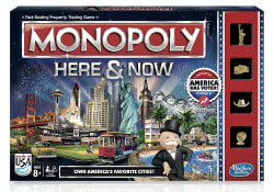 Monopoly Here & Now Board Game for $4